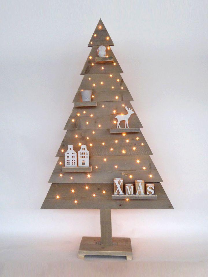 kerstboom steigerhout met led verlichting