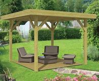 Overkapping plat dak terrasoverkapping lariks douglas hout - Modern prieel aluminium ...
