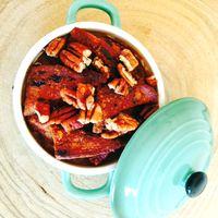 Glutenvrije broodpudding met pompoen en pecan