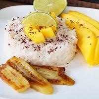 Kleefrijst met mango en banaan