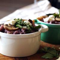 Risotto met paddenstoelen, asperges en geitenkaas