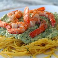 Spaghetti met garnalen en romige avocadosaus