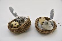 Doos Met Nest 8cm Vogel 10cm en Kwartelei - 2 Stuks