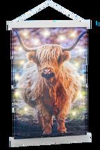 Wandkleed Schotse Hooglander met LED warm wit 75x120cm excl. 3xAA batt.