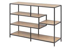 sabro-boekenkast-laag-asymmetrisch-planken-wild-eiken-zwart-frame-1