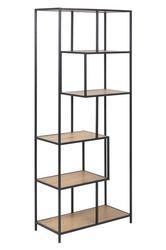 sabro-boekenkast-asymetrisch-6-planken-wild-eiken-zwart-frame-1
