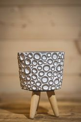 h.15 Ø10 cm Cement w.ring design w.wooden legs