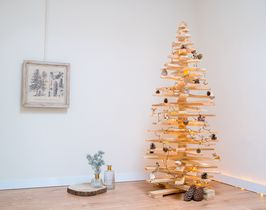 Houten kerstboom latten 3d naturel