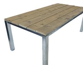Steigerhout statafel stalen frame 80 x 80 x 113 cm for Tuintafel steigerhout bouwpakket