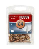 Novus Popnagels C4 X 10 mm Koper - 20 Stuks