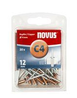 Novus Popnagels C4 X 12 mm Koper - 20 Stuks