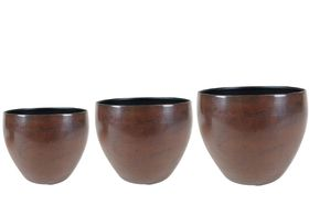 TS Bloempot set van 3 Kian bronze