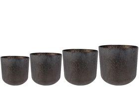 TS Bloempot set van 4 Lian koper zwart
