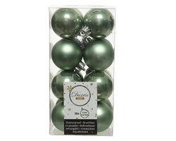 Decoris Kerstballen Groen Mat en Glanzend 4cm 16 Stuks