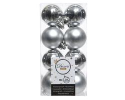Decoris Kerstballen Zilver Mat en Glanzend 4cm 16 Stuks