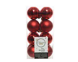 Decoris Kerstballen Rood Mat en Glanzend 4cm 16 Stuks