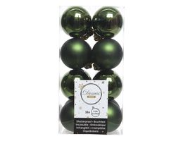 Decoris Kerstballen Donker Groen Mat en Glanzend 4cm 16 Stuks