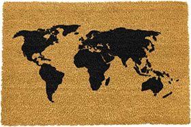 Deurmat Kokos Wereldkaart 59 x 39 cm