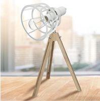Tafellamp Metaal & Hout - 17 x 50 cm 60V Lamp Industriële Stijl