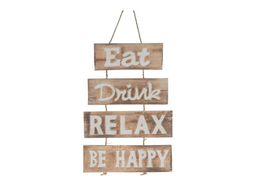 "Dijk Natural Collections | Houten bordje ""Eat, Drink, Relax, Be Happy"""