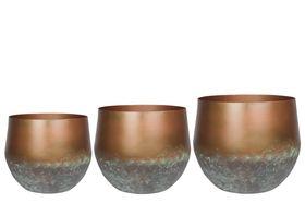 TS Bloempot set van 3 Elisa mystic bronze