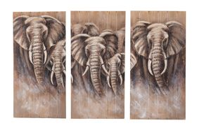 Houten kunstwerken olifanten 58x4x118cm