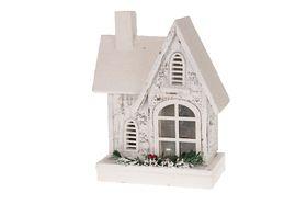 Houten Kersthuisje Met Verlichting En Sneeuw 30 cm hoog