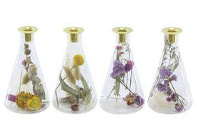 Dinerkaarshouder met gedroogde bloemen Ø10.3x20cm Transparant