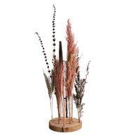 Gedroogde bloemen op hout Ø15x30cm roze
