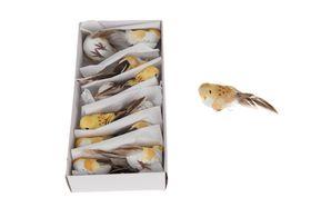 Dijk Natural Collections Vogel op Clip Geel 12 Stuks