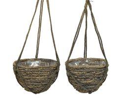 Bloemenmand Set Hangend Waterhyacint Grijs