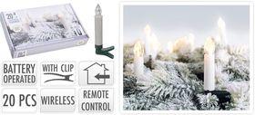 kerstboomkaarsen 10 LED warm wit draadloos met afstandsbediening