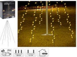 Kerst vlaggenmast verlichting 192 LED warm wit 2.08 meter
