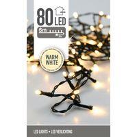 Kerstverlichting 80 LED warm wit buiten/binnen 6 meter
