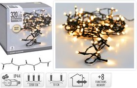 Kerstverlichting 320 LED warm wit buiten/binnen 32 meter