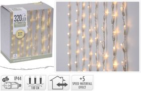 Kerst gordijnverlichting 320 LED warm wit 1 meter