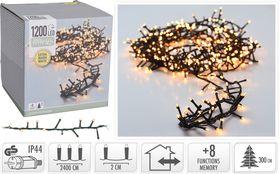 Micro cluster kerstverlichting 1200 LED extra warm wit buiten/binnen 24 meter