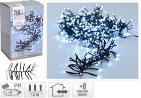 Kerst clusterverlichting 768 LED wit buiten/binnen 5.5 meter