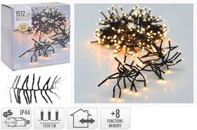 Kerst clusterverlichting 1512 LED warm wit buiten/binnen 11 meter
