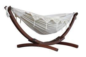 Vivere Combo Dubbele Katoenen Hangmat met Massief Houten Standaard | Naturel