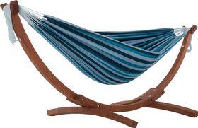 Vivere Combo Dubbele Katoenen Hangmat met Massief Houten Standaard | Blue Lagoon