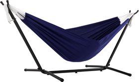 Vivere Combo Dubbele Polyester Hangmat met Standaard Royal Blue