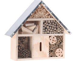 Insectenhotel Hout met Metalen Dak Breed