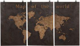 Dijk Natural Collections | Houten Drieluik Wanddecoratie Wereldkaart 210 x 121 cm