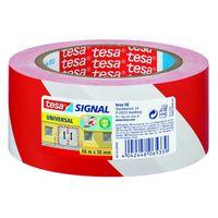 Tesa Universal Waarschuwingstape Rood/Wit 50 mm 66 Meter