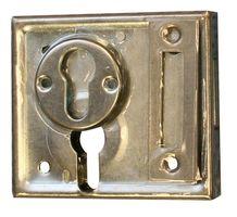 Opleg-kelderslot voor PC / 60 mm / L+R bruikbaar / 2 toeren / incl. rozet en sluitplaat / staal verzinkt