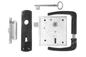 Poortslot  / met hefschoot / L+R bruikbaar / doornmaat 60 mm / deurkrukgarnituur met schild / sluitplaat / 2 bonte baardsleutels / staal verzinkt