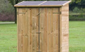 ≥ rood kastje ondiep open houten kast huis terras tuin