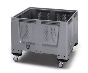 Pallet box ventilatiesleuven met 4 wielen 120 x 100 x 93 cm