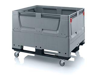 Pallet box inklapbaar met 4 wielen en 3 sledes 120 x 100 x 93 cm